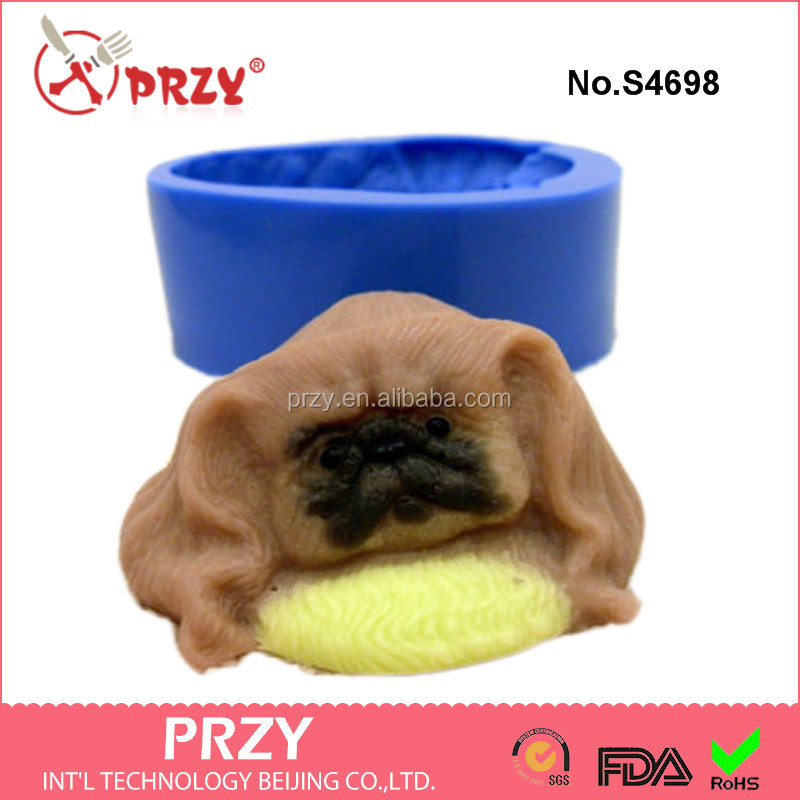 S4698 Pekingese on a pillow - silicone mold for soap and candles making mould molds