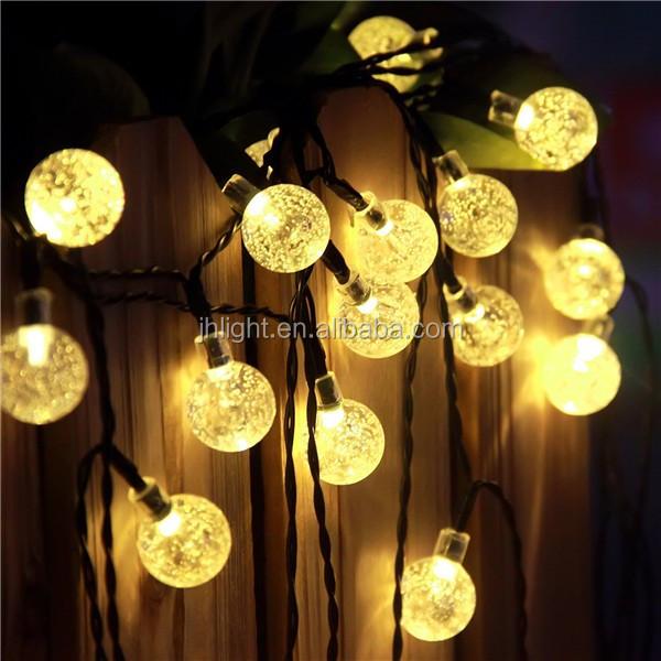 Innoo Tech Solar Outdoor String Lights 19.7 Ft 30 LED Warm White Crystal  Ball Christmas Globe