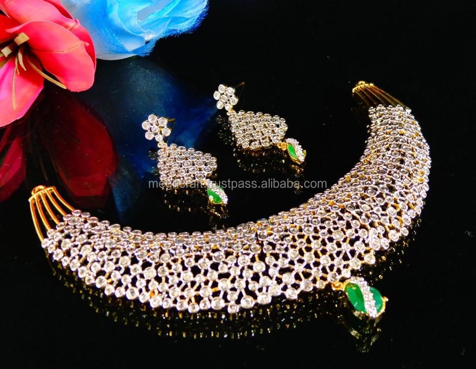 American Diamond Wedding Wear Necklace Heavy Necklace Set