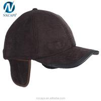 Custom corduroy hats baseball cap with ear flaps hats custom earflap hat with PU leather brim visor baseball caps