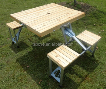 Wooden Folding Picnic Table And Chairs , Outdoor Picnic Tables
