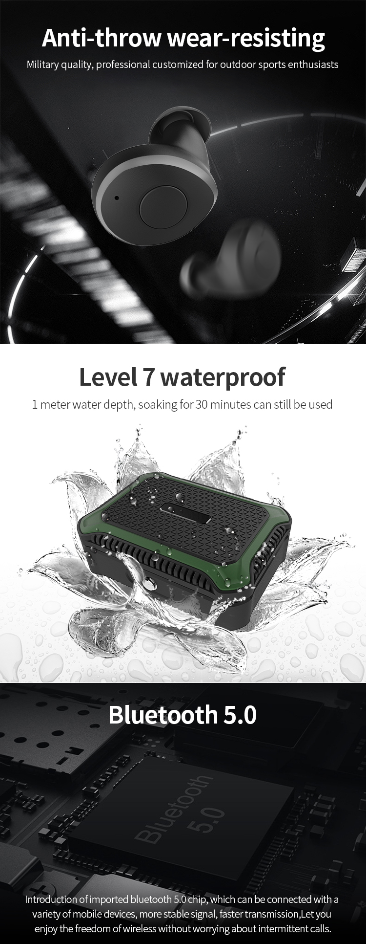 IPX7 Waterproof Qualcomm chip bluetooth headphone for OnePlus 5T amazon top seller 2019 earbuds wireless bluetooth earphone