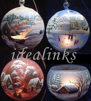 hand painted christmas glass balls votive candle holder - How To Decorate Votive Candle Holders For Christmas