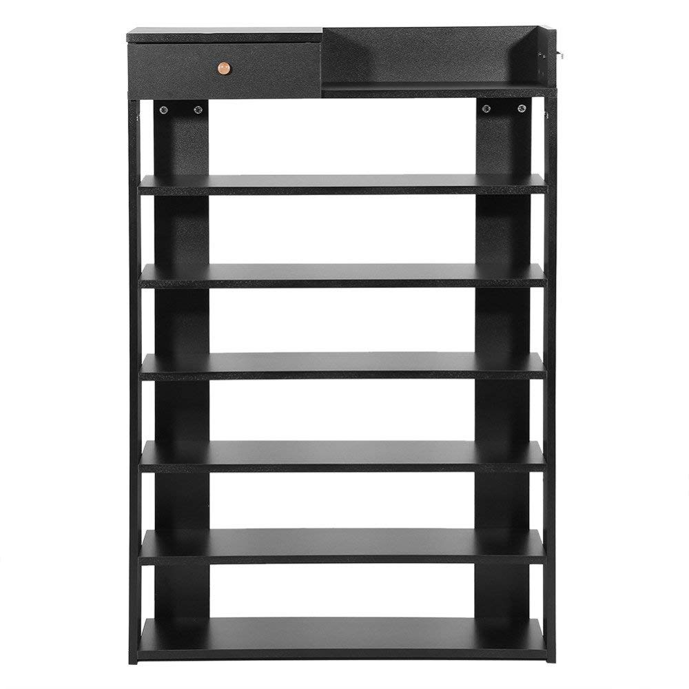 Get Quotations Ertianang 6 Tiers Black Standing Shoe Rack With Drawer Shoes Shelf Storage Wardrobe Organizer