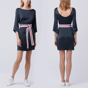 Womens 3/4 Sleeve Belted scoop neck Dress Slimming blue Mini Tunic