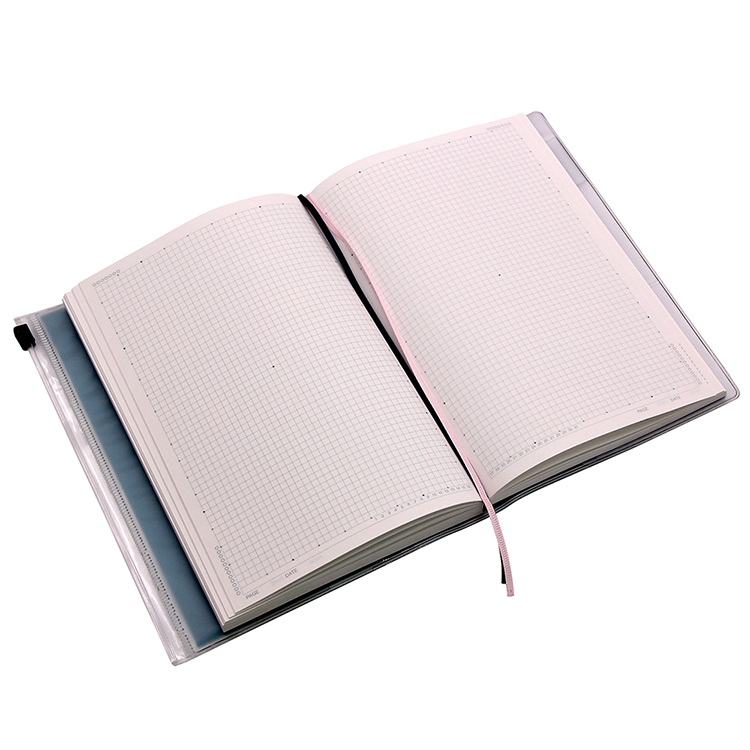 Custom A5 B6 Softcover Grid Printing Journal with Waterproof PVC Cover Sealing Bag