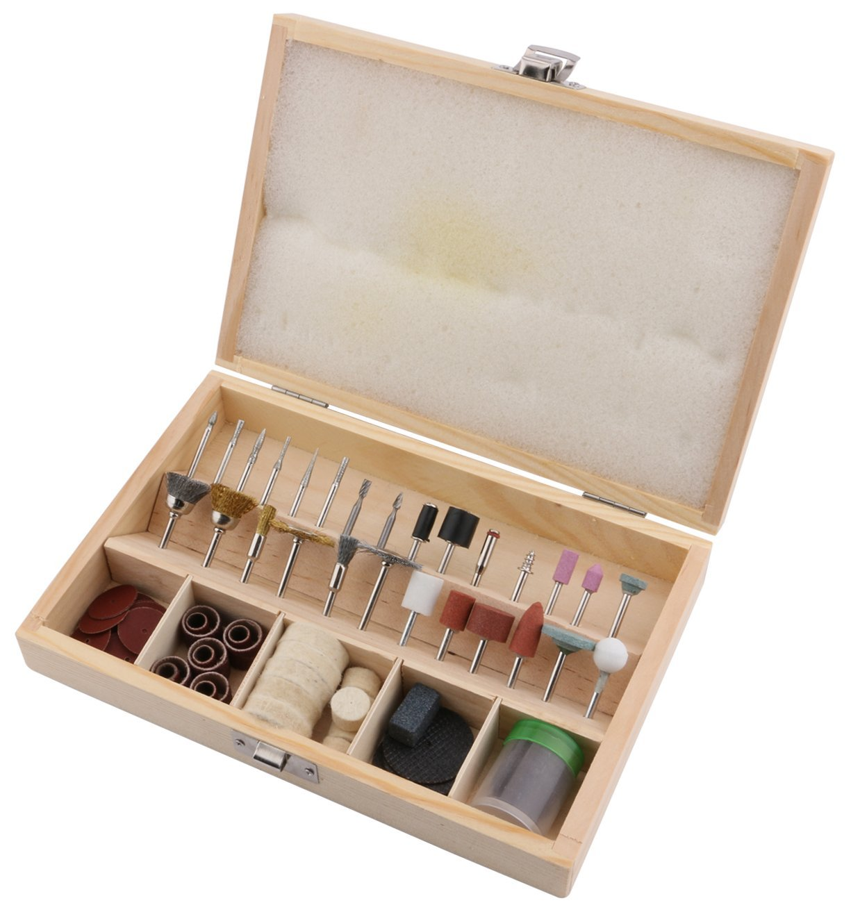 """Yeeco 99-Piece Assorted Clean Polish Rotary Tools with Wooden Case, Drill Bits Sanding Bands Discs Cutting Wheel Stainless Brush Polishing Buffing Accessories Attachment Set (1/8"""" diameter shanks)"""