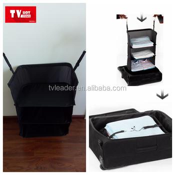 Travel Foldable Suitcase Closet,Hanging Travel Use Storage Shelves
