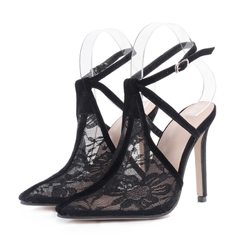 a5b99c6d883ce2 new stylish sexy lace flower shoes ankle strap high heels women stiletto  sandals shoes