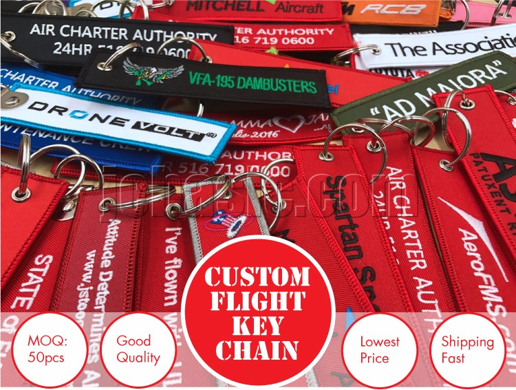 Wholesale Embroidery Tags Custom Flight Keychains