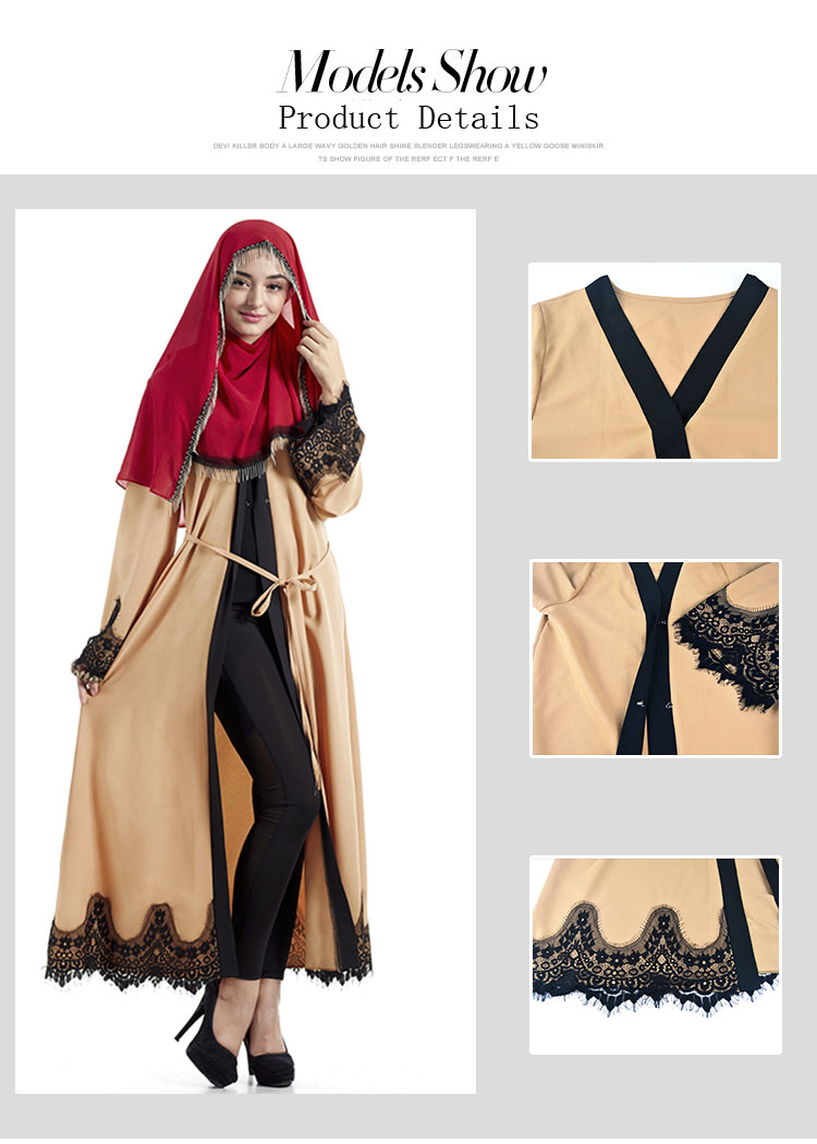 Wholesale islamic women front open clothing kaftans jilbab muslim long dress abaya