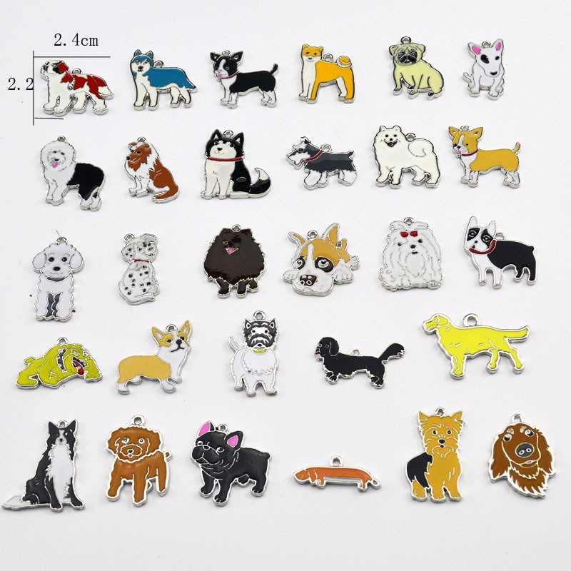 779736950 2019 Pet Pendants DIY Dogs Charm Husky Bulldog Schnauzer Pug Corgi ...