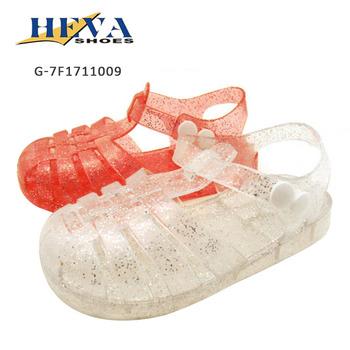 8bc22532fb87 Transparent Shiny Beach Jelly Shoes Anti-slip Round Toe T-Strap Roman Child  Glitter