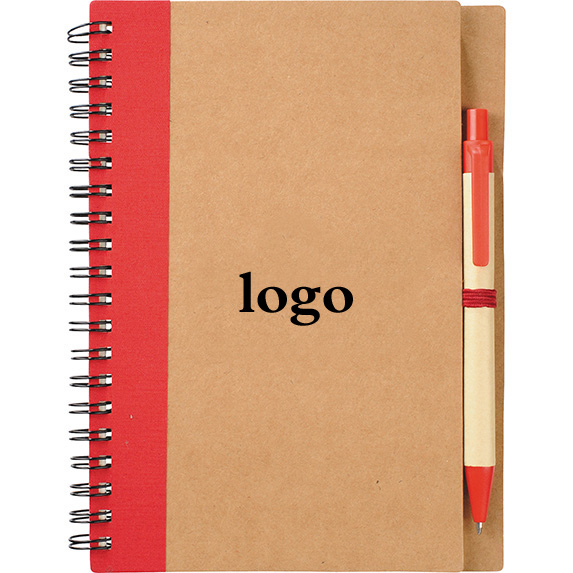 Oempromo custom printed hardcover a4 spiral notebook with pen