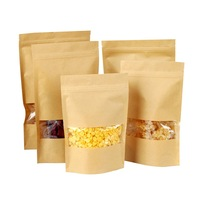 Kraft paper stand up zipper pouch with window for snack,dried fruit,nuts,ziplock standing bag LS Eplus