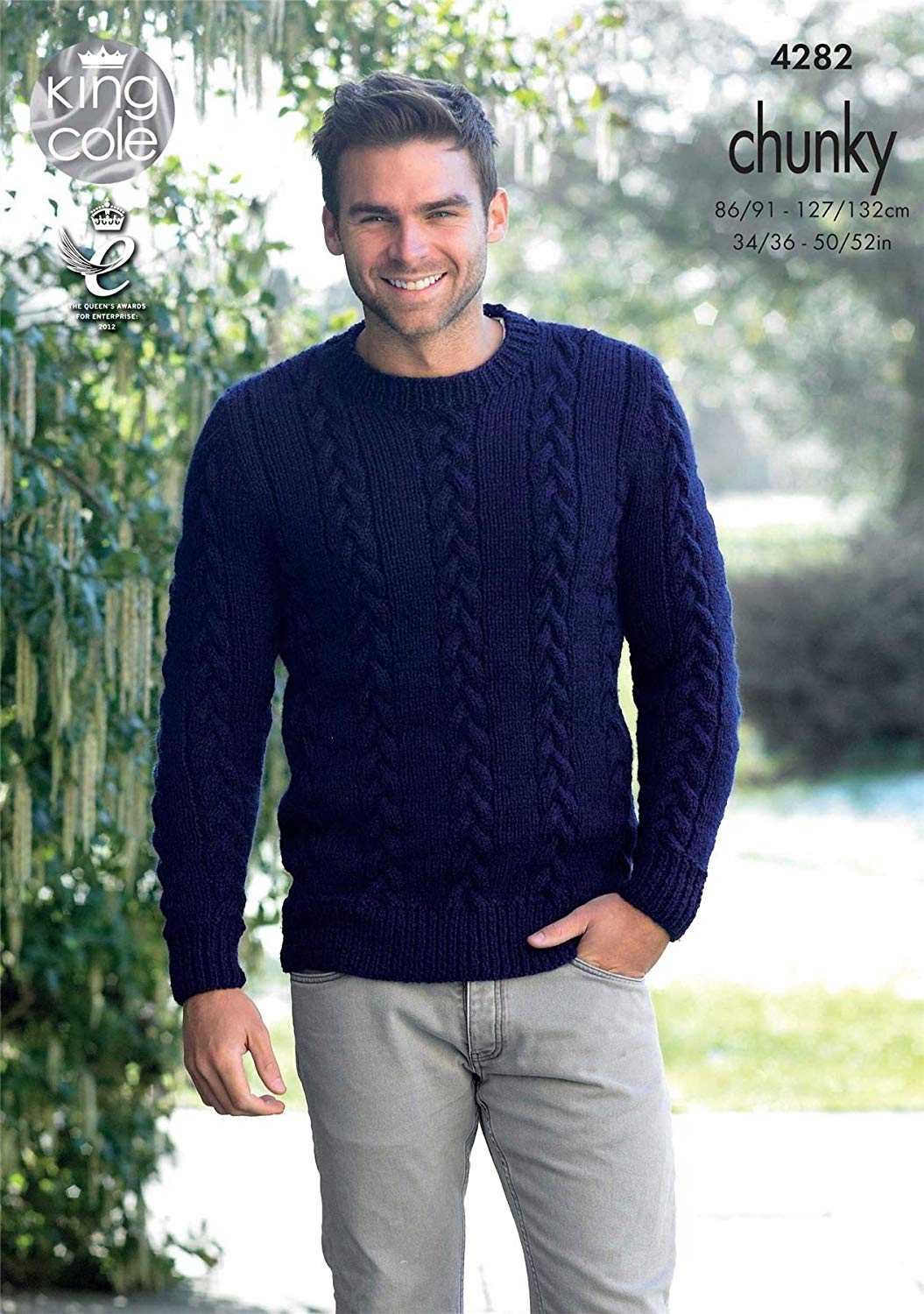 32e6db823 Get Quotations · King Cole Magnum Chunky Knitting Pattern Mens Cable Knit  Sweater Jumper   Slipover (4282)
