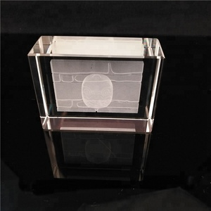 Wholesale 3d Laser Cut Crystal Glass Cube/Building Animal Photo Laser Engraved Crystal Cube