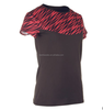 Womens Color Contrased Short Sleeve Runing T-shirt Black