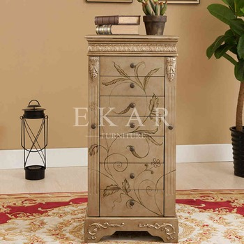 Wholesale China Two Door 8 Chest Drawers Gold Wooden Cabinet Mirror Jewelry  Display Cabinets