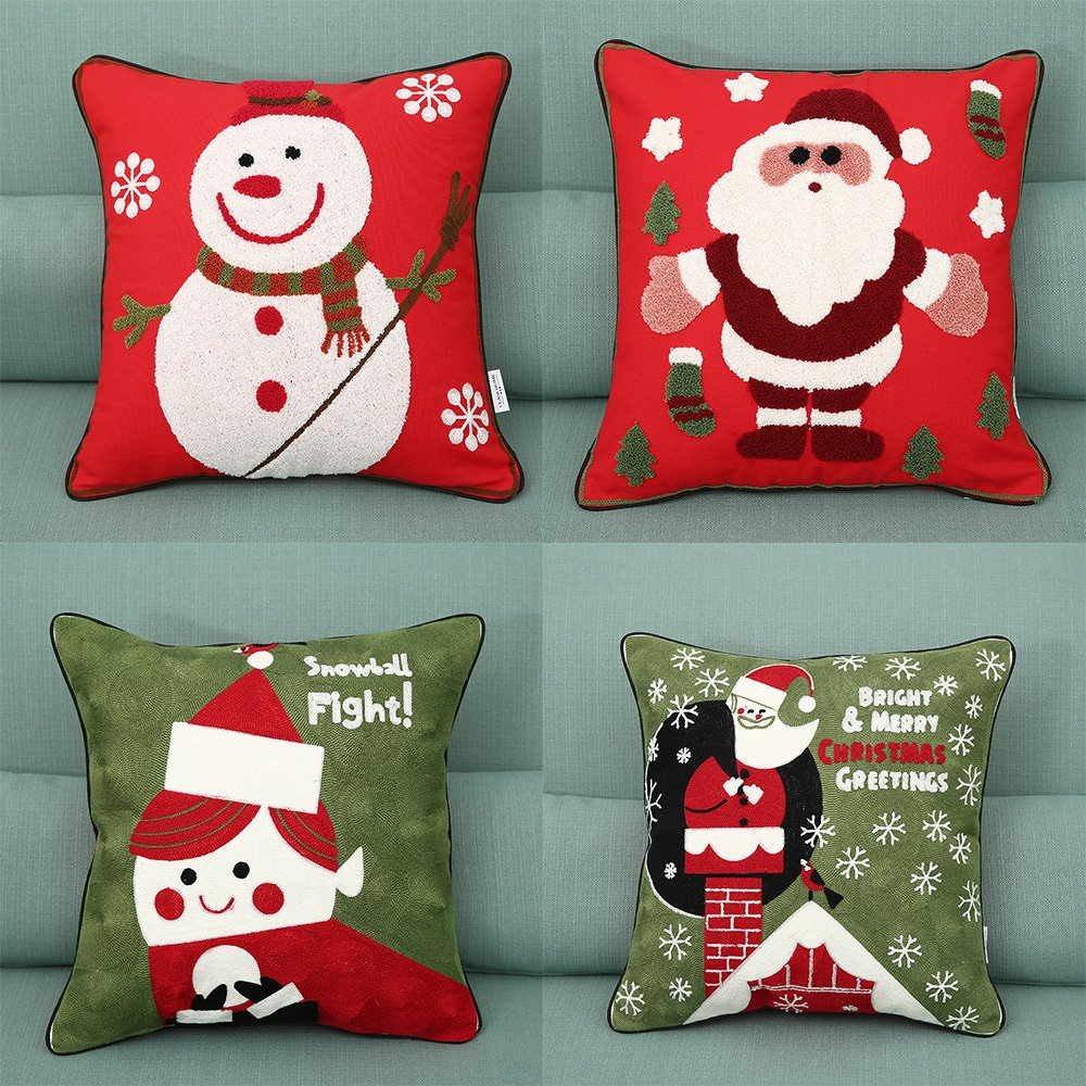 Christmas Pillow Covers 4 Pack, Snowman, Christmas Tree, Santa Claus, Merry Christmas Decorative Sofa Throw Pillow Case Cushion Covers 18 X 18 Inch, Cotton Linen