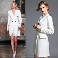 2016 Women Fashion Winter Wool Fabric Long Knee Length Coat for Girls