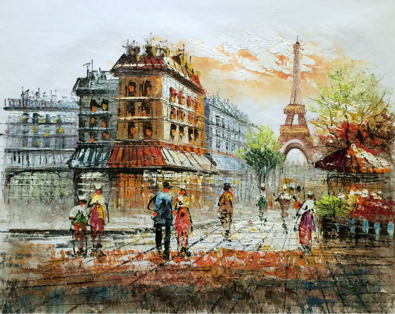 Hand Painted European Landscape Canvas Painting Eiffel