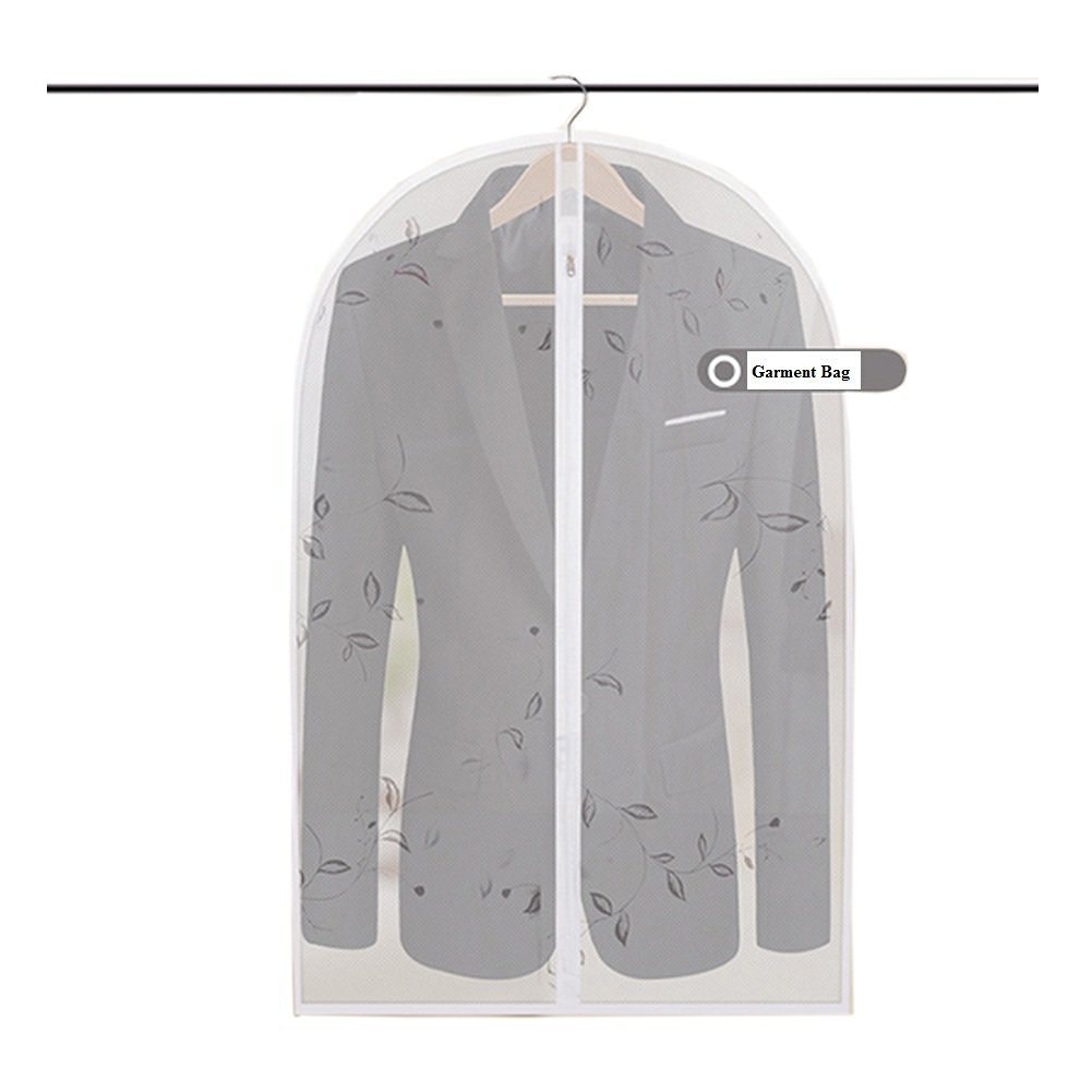 "Eightnoo Breathable Garment Bag -Printed Transparent PEVA Home Dress Clothes Garment Suit Cover with Zipper Medium Size 39.4 ""x23.6"", Large Size 51.2 "" x 23.6 "", Pack of 3"