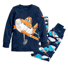 New kids planes pajamas set boys long sleeve spring autumn sleepwear clothing baby lovely pyjamas suit in stock Free Shipping