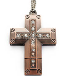 16 g to 64 g creative metal cross U disk Christian gifts brick usb necklace usb flash drive PN6958
