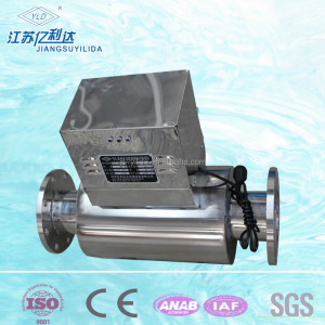Horizontal struture electronic limescale removing device for cooling tower scaling treatment