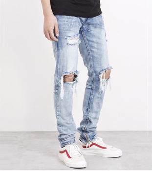 bbe9fbd670554 Custom fitted tapered denim damaged jeans for men bulk wholesale zip around skinny  jeans pants from