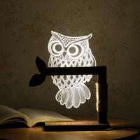 3D Acrylic Owl Lamp Creative Cute Wooden Base Decor Bedside Table Lamp Table 3d led lamp night lights