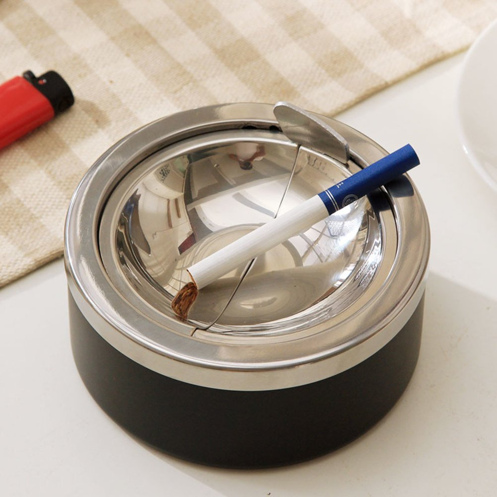 stainless steel windproof ashtray/Creative fashion push ashtray/ smoke pot gift-A