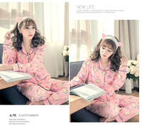 Long sleeves manufacturers cotton pink pyjamas print night suit for ladies