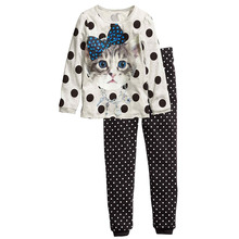 2015 Brand New Pyjamas Kids 100% Cotton Casual Full Sleeve Lovely Cat Print Pajamas For Girls 2Pcs Children Clothing Set Clothes