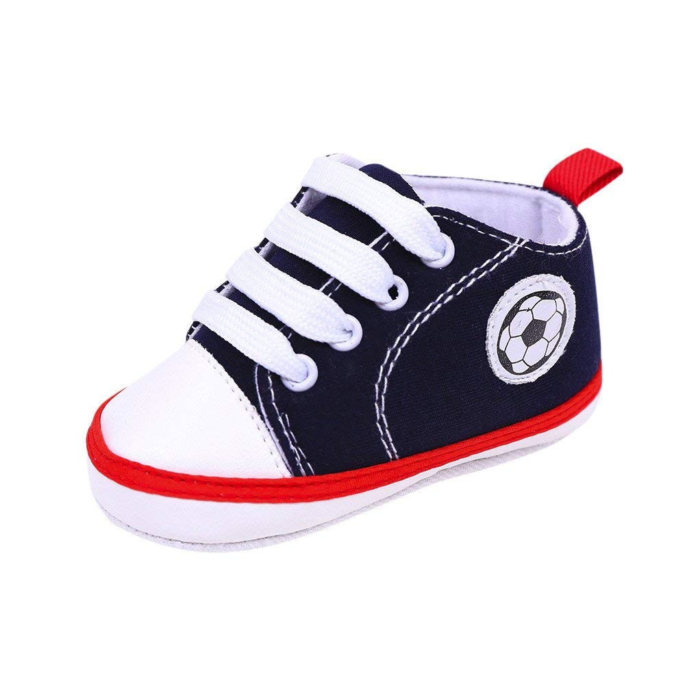 Jshuang Blue0-1 Years Old Baby Shoes New Canvas Shoes Baby Shoes Toddler Shoes, Newborn Infant Baby Football Print Sneaker Anti-Slip Soft Sole Toddler Navy Canvas Shoes (Navy, 12)