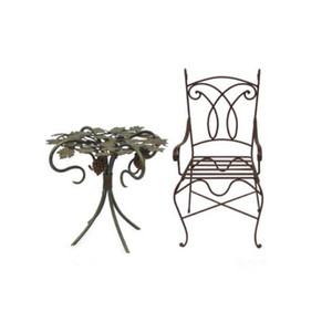Wrought iron garden furniture with tables and chairs