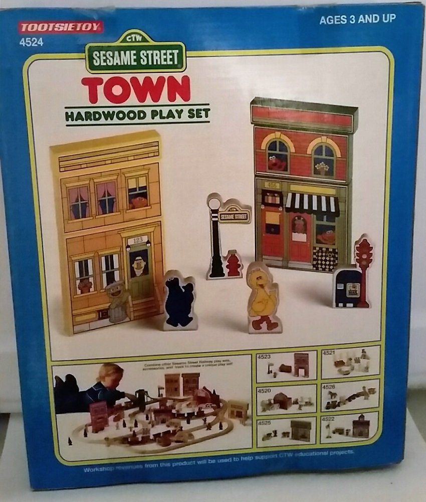 Buy 1995 Sesame Street Tootsietoy Town Set Wooden Train