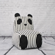 White-black printed panda bean bag sofa