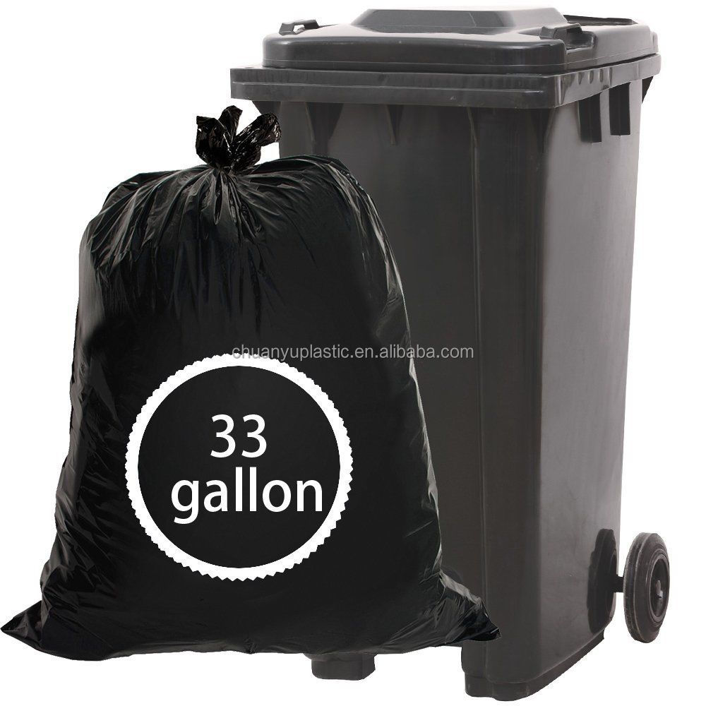 33 Gallon Large Trash Bags, <strong>Black</strong>, 62 Counts