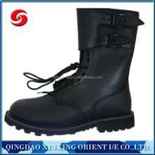 Black embossed split leather boot