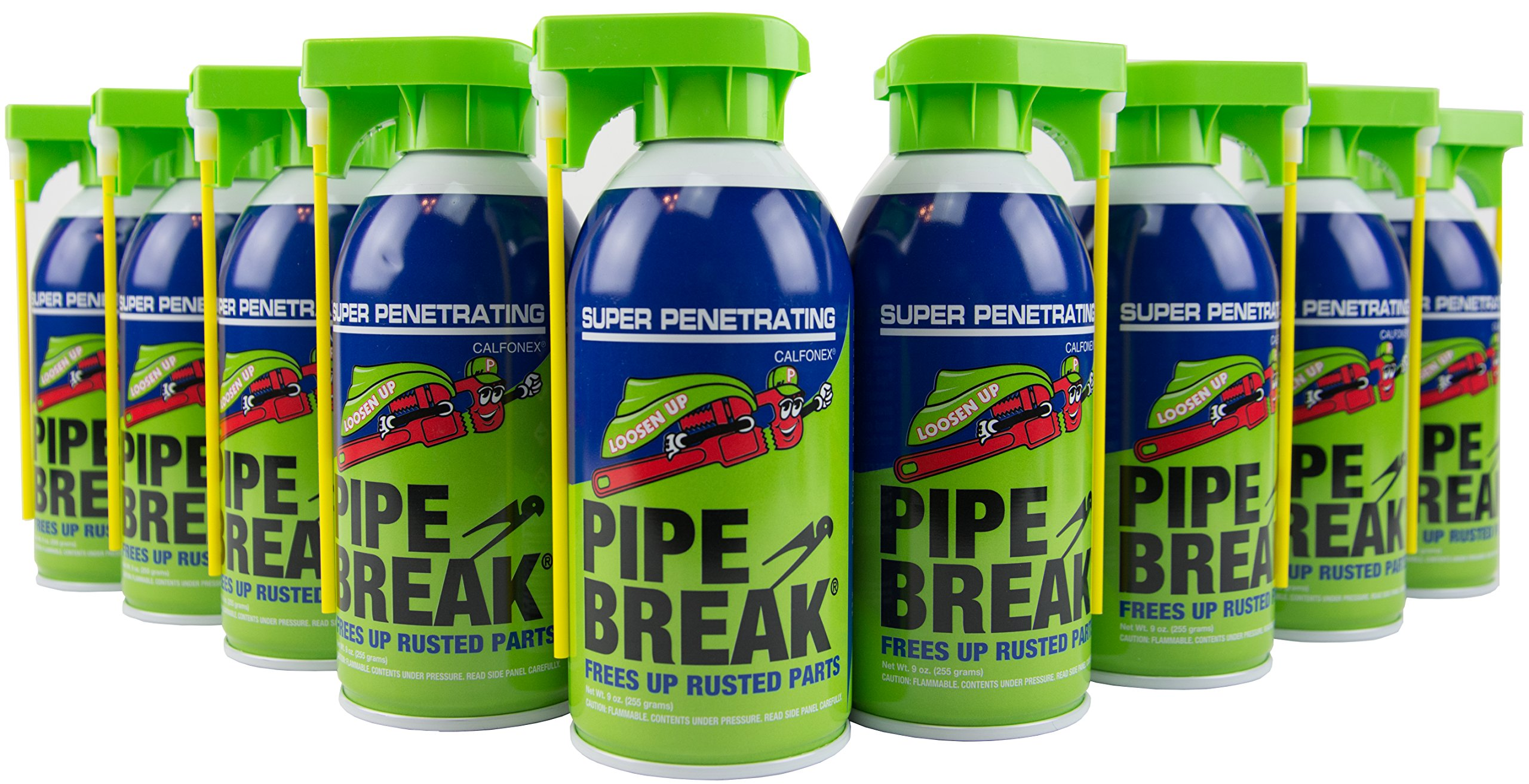 Case of 12 Pipe Break 9 oz. Penetrating Oil Aerosol Spray Cans with Attached Straw for Pinpoint Spray or Wide Stream Spray Penetrant for Rust - Low Odor - Free Rusted Nuts and Fasteners