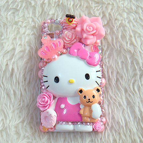 3D Bling Bling Rhinestone Pink Hello Kitty Phone Deco Mobile Covers for galaxy note 4 case