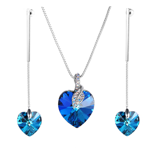 M42-60043 xuping heart 925 sterling silver color jewelry sets crystals from Swarovski