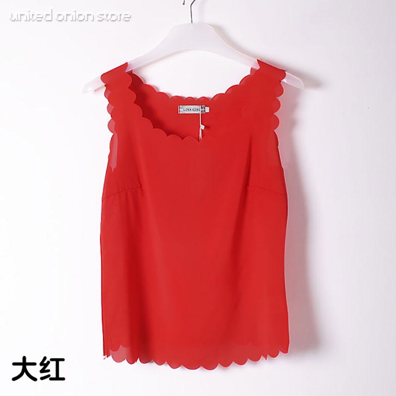 Мода твердые широкий волнистые жилет блузки кромкой топы дна кружева короткий рубашка без рукавов blusas femininas camisas mujer