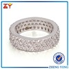 New Model Design Brass Material Zircon Paved Setting Silver Plated Nobel Rings