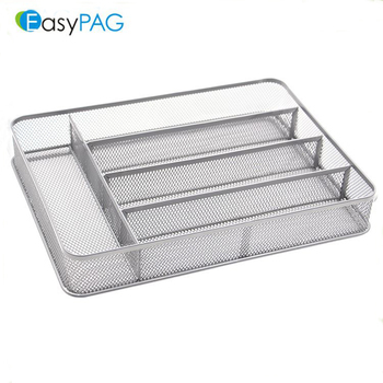 EasyPAG Wholesale Household Silver 5-Section Mesh Cutlery Tray