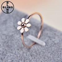 >>>2017 Popular elegant stainless steel the Rice word rose gold plated butterfly flower ring