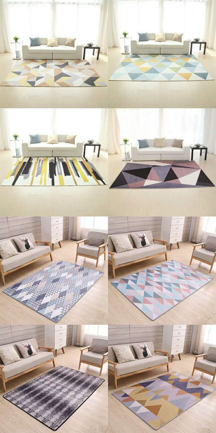 Modern Design Poly Printed Polyester Non Slip Rug Household Living Room Printed Area Rug