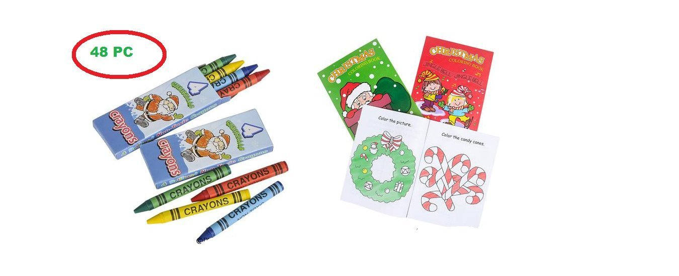 48 Pc Merry CHRISTMAS Coloring Activity Set ~ Festive Colorful 24 Crayons ~ 24 Coloring Books ~ Holiday Party Favors ~ Gatherings ~ Schools ~ Classroom Teacher Gifts ~ Stocking Stuffer ~ Santa